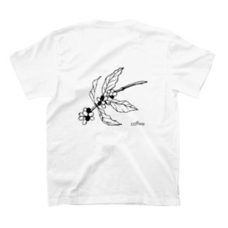 モノクロコーヒー豆の木☕️I love coffee T-shirts