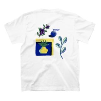 クレヨン風植物1 両面印刷 T-shirts