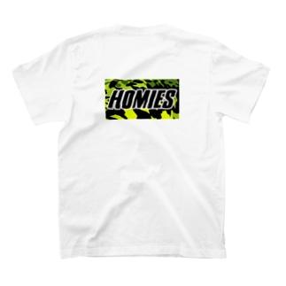 BASSHOMIES(バスホーミーズ)ブラックバス柄ミリタリー風バックプリント T-shirts