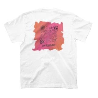 前 ロゴ 背 QR 歪み T-shirts