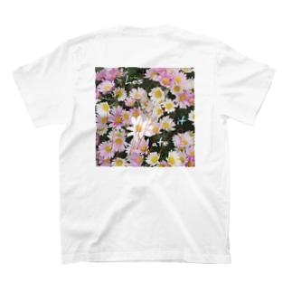 hesitate/花/バックプリント T-shirts