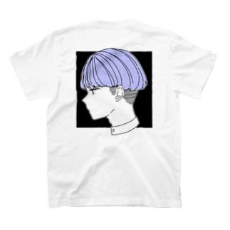 ブルーの子 黒ver T-shirts