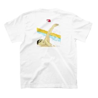Dolphinの水泳 背泳ぎ Backstroke 4 T-shirtsの裏面