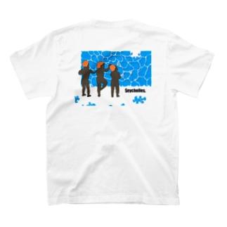 青い海で作る優雅なパズル T-shirts