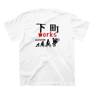 下町evo:ホワイト バックプリント T-shirts
