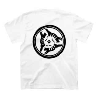 ネコ家紋Tシャツ(背面) T-shirts