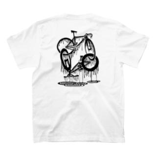 nidan-illustrationのmelted bikes #2 (black ink) T-Shirtの裏面