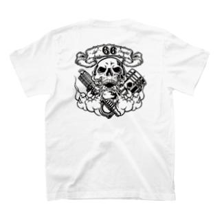 バイク【Skull 66】バックプリント T-shirts