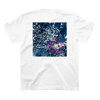 hesitate/夜桜/バックプリント T-shirts