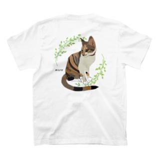 三毛猫 ミャオ バックプリントバージョン 胸元にも小さく T-shirts