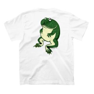 おすわりバジェットガエルバックプリントTシャツ T-shirts