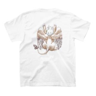 しがみつきグリフォン(ふんわり塗り)背面プリント T-shirts
