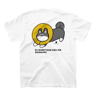 エリザベルカラー柴犬 黒 T-shirts
