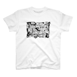 あけたらしろめ「ゲルニカ」 白抜きver T-shirts