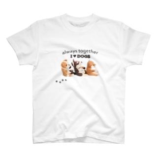 I ♥ dogs 柴犬 シベリアンハスキー ブルドッグの 仲良しトリオ(黒文字Ver.)  T-shirts
