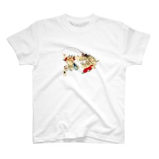 猫と遊ぶ神功皇后と恵比寿天 T-shirts