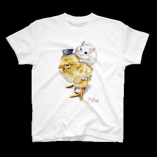 ボールペン画と可愛い動物のこっちだよ。(文字なし) T-shirts