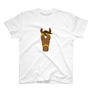 馬(鹿毛) T-shirts