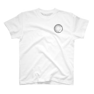 ダイヤル ワンポイント 線画黒 T-shirts