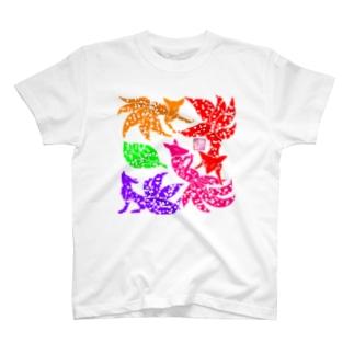 """「百歳」Series * Fox!!Fox!!Fox!!""""KonZukushi""""haru T-shirts"""