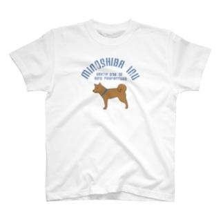美濃柴かすれロゴ(ブルー) T-shirts