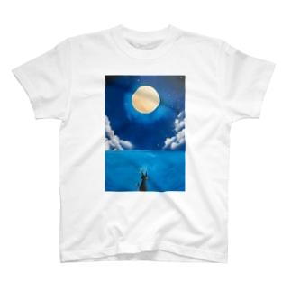 満月の下の猫 T-shirts