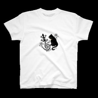 柚子の猫とトカゲ(メヘンディ) T-shirts
