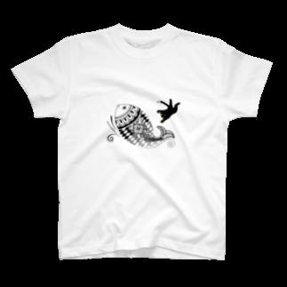 柚子の猫とさかな(メヘンディ) T-shirts
