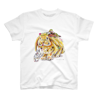 ボールペン画と可愛い動物の気合十分♡(文字なし) Tシャツ