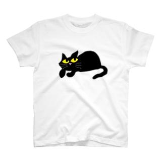 上目使いのクロネコ T-shirts