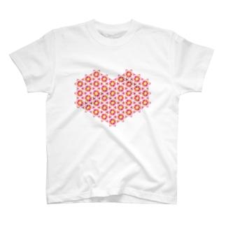 フラワーハート T-shirts
