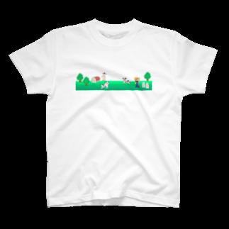 牛乳だいすき!の牧場の風景シリーズ T-shirts