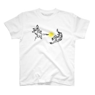 鳥獣人物戯画 ウサギ反撃キック T-shirts