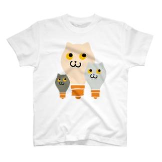 ねこふくろう電球 T-shirts