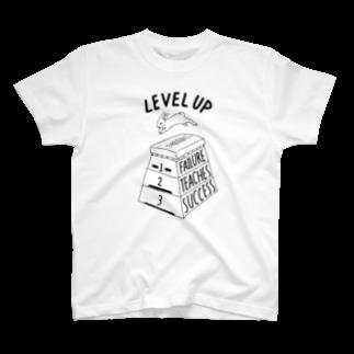 ねこぜもんのLEVEL UP FTS くろいロゴ Tシャツ