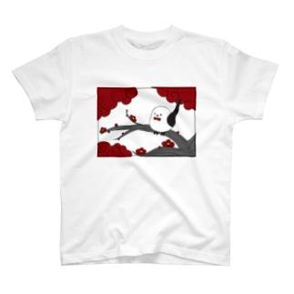 花札「梅とナガオくん」白 T-shirts