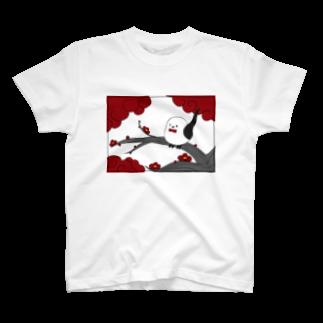 シマエナガの「ナガオくん」公式グッズ販売ページの花札「梅とナガオくん」白 Tシャツ