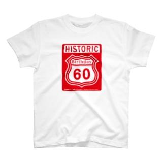 ルート66風 還暦アニバーサリー赤 2008モデルリメイク 2018 T-shirts