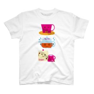 スイーツタイム-紅茶・ティーポット・シュガー&ミルク-sweets time-スイーツタイム- T-shirts