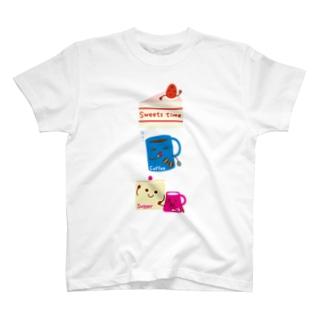 スイーツタイム-ショートケーキ・コーヒー・シュガー&ミルク-sweets time-スイーツタイム- T-shirts