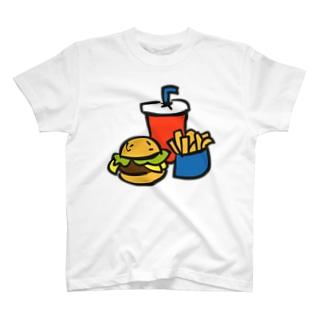 ハンバーガーとポテトとドリンクのセット ---カラフルでポップなフードデザインTシャツ--- T-shirts