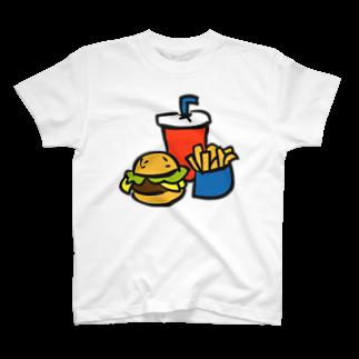 ぽっぷんすたんぷ -POP'N STAMP-のハンバーガーとポテトとドリンクのセット ---カラフルでポップなフードデザインTシャツ--- T-shirts