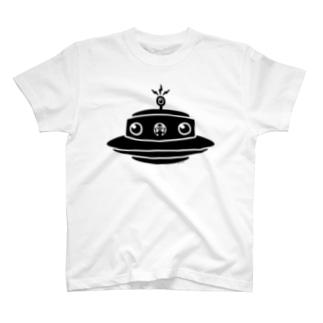 シンプルUFO★宇宙人コンニチハ‐ブラック T-shirts