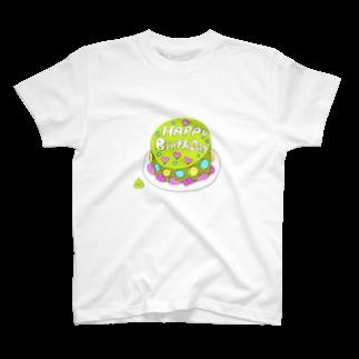 マーケットデザインワーク ビイトのまっちゃケーキ T-shirts