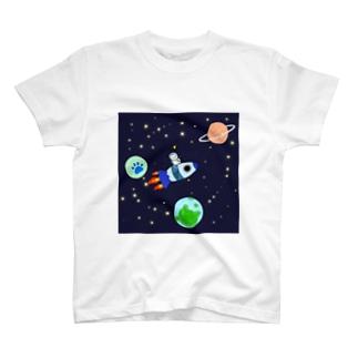 寝不足にゃんこの夢(宇宙編〜四角型〜) T-shirts