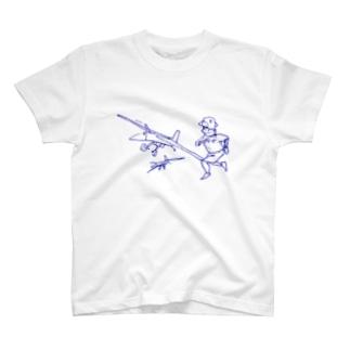 男の子と飛行機 Tシャツ