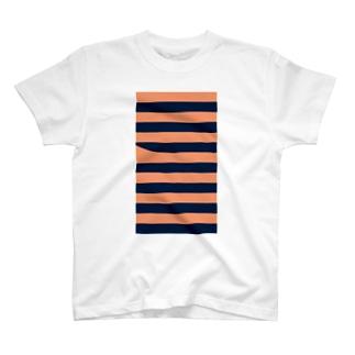 サーモンピンクのボーダー T-shirts