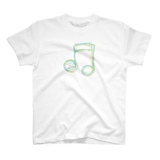 レインボー8分音符 T-shirts