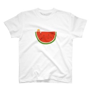 はしもとあやねのスイカとマスクマンのイラスト(赤) T-Shirt