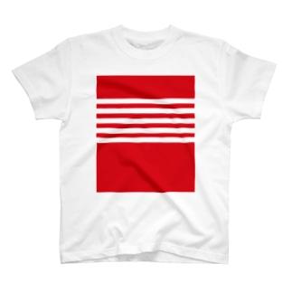 例のボーダー(赤) T-shirts